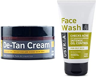 Ustraa De-Tan Cream for Men, 50 g & Ustraa Face Wash for Oily Skin (Acne and Oil Control) - 100gm