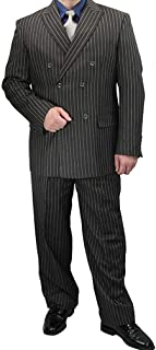 Mens Fashion Suit Double Breasted Banker Stripe Classic Regular Fit Double Pleated Pants