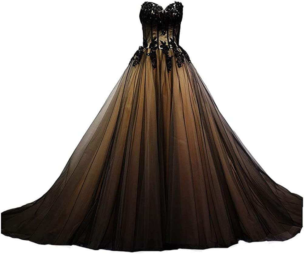 Kivary Sweetheart New mail order Black Tulle Gold Lace Corset 2021 Gown Gothic Ball