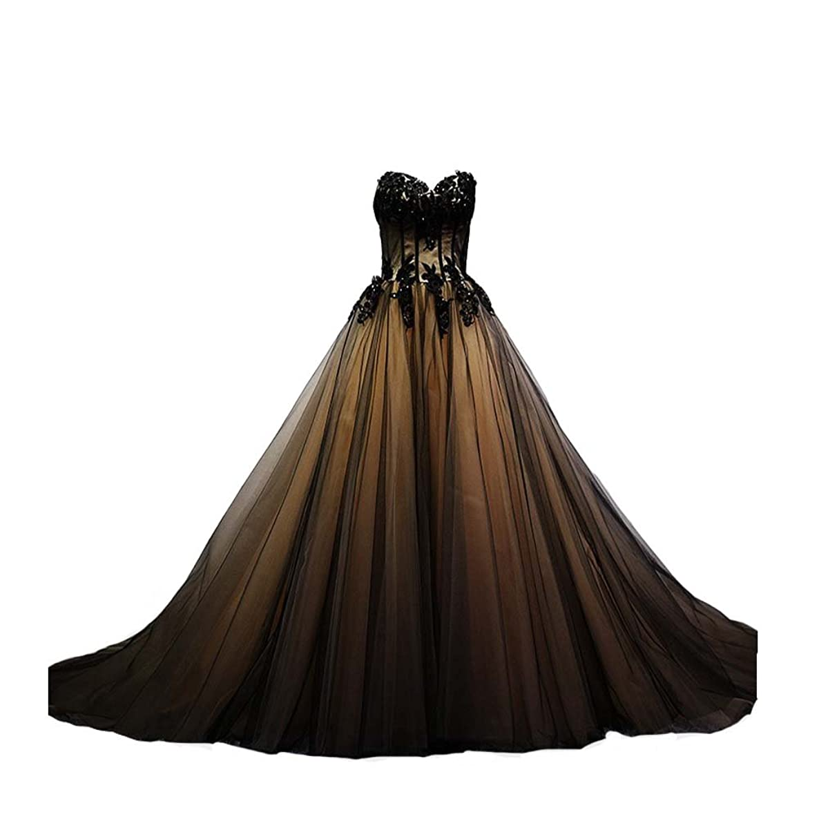 Kivary Sweetheart Black Tulle Gold Lace Corset Ball Gown Gothic Prom Wedding Dresses
