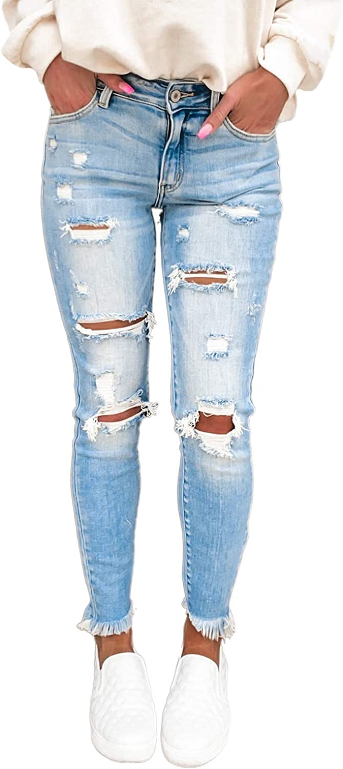 Resfeber Womens Ripped Skinny Jeans Comfy Stretch Distressed Jeans with Holes Denim Pants