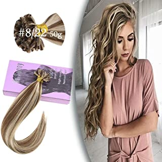 VeSunny Bonded Hair Extensions Human Hair 14 inch Color #8 Light Brown Mixed #22 Light Blonde Keratin Fusion Hair Extensions Kit 50G/Pack