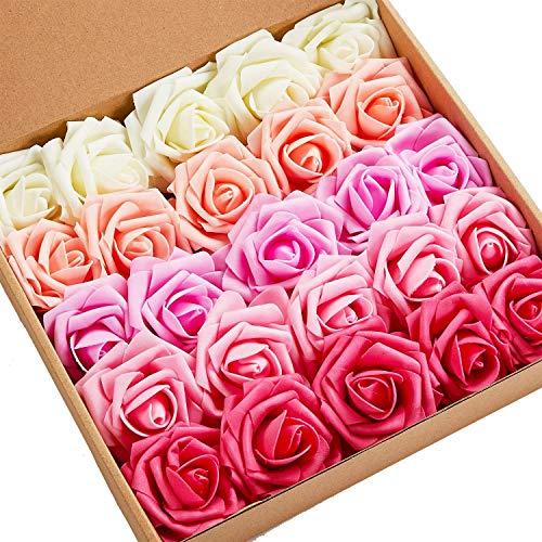 N&T NIETING Künstliche Blumen Rosen, 25 Stück Kunstblumen Gefälschte Rose mit Stielen DIY Hochzeit Blumensträuße Braut Zuhause Dekoration, Serie A Rot