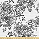 Ambesonne Floral Fabric by The Yard, Plant Blossom Spring Season Birth of Nature Monochrome Sketch Vintage Design, Decorative Fabric for Upholstery and Home Accents, 2 Yards, Black Grey White