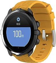 MOTONG Silicone Replacement Wrist Strap for Suunto Spartan Sport Wrist HR Baro and Suunto 9 Baro (Silicone Yellow)