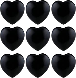 TUMBEELLUWA Healing Stones Carved Heart Puff Love Crystal Chakra Worry Reiki Pocket Palm Stone Pack of 15,Obsidian,0.5""
