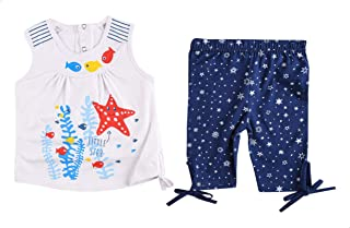 Lumex Fish-Print Top with Elastic Waist Shorts Pajama Set for Girls, 2 Pieces - Blue and White