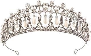 Corona Strass Diademi Da Sposa E Corona For La Sposa Fatto A Mano Di Cristallo Della Perla Fascia Diadema For Donne E Raga...