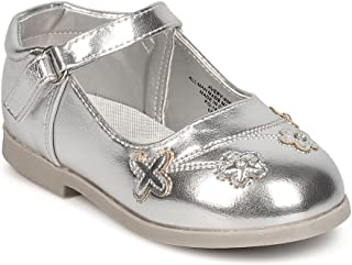 Aadi Girls Metallic Leatherette Round Toe Flowers Mary Jane Flat (Infant) FC65 - Silver