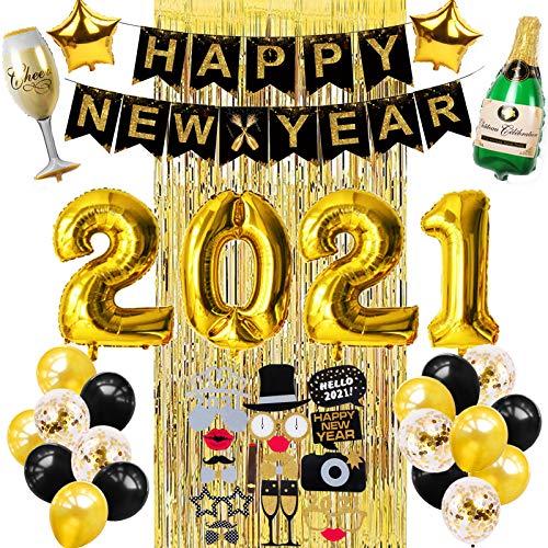 YFKJEU 2021 -  Juego de decoración para fiestas de Año Nuevo,  diseño de bandera de Año Nuevo,  2021,  número de globos de Foil Ballons, Accesorios para fotografías,  botella de champán