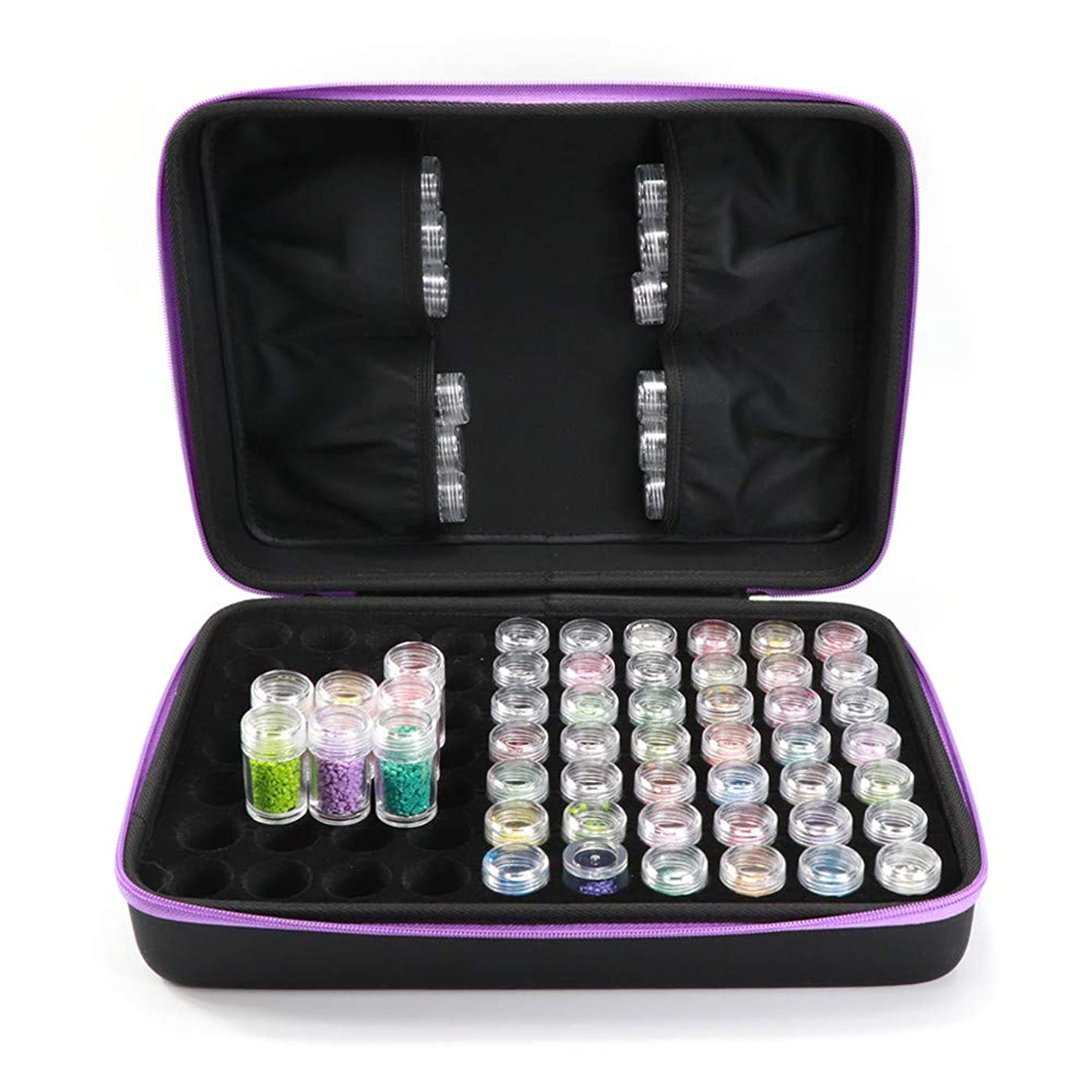 MASiKEN 70 Slots Diamond Painting Storage Case, 5D Diamond Embroidery Box Accessories 70 Grids High Capacity Shockproof and Durable Containers Case, Include 70pcs of Empty Bottles (Purple)