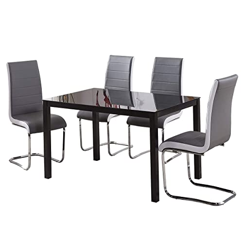 Sturdy Metal Glass Dining Table And 4 Chairs Set Black Grey White Brown