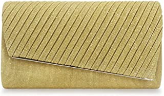 LVfenghe Europe and America Pleated Handbags Evening Bag Banquet Clutch Bag Shiny Shoulder Diagonal Chain Bag Black Blue Yellow Beige Size: 25 * 5.5 * 13.5cm (Color : Yellow)