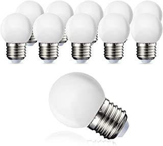 Suncan Pack de 10 bombillas LED E27 G45, blanco cálido 2700 K, 3 W G45, 180 lm, cubierta mate de policarbonato, no regulable
