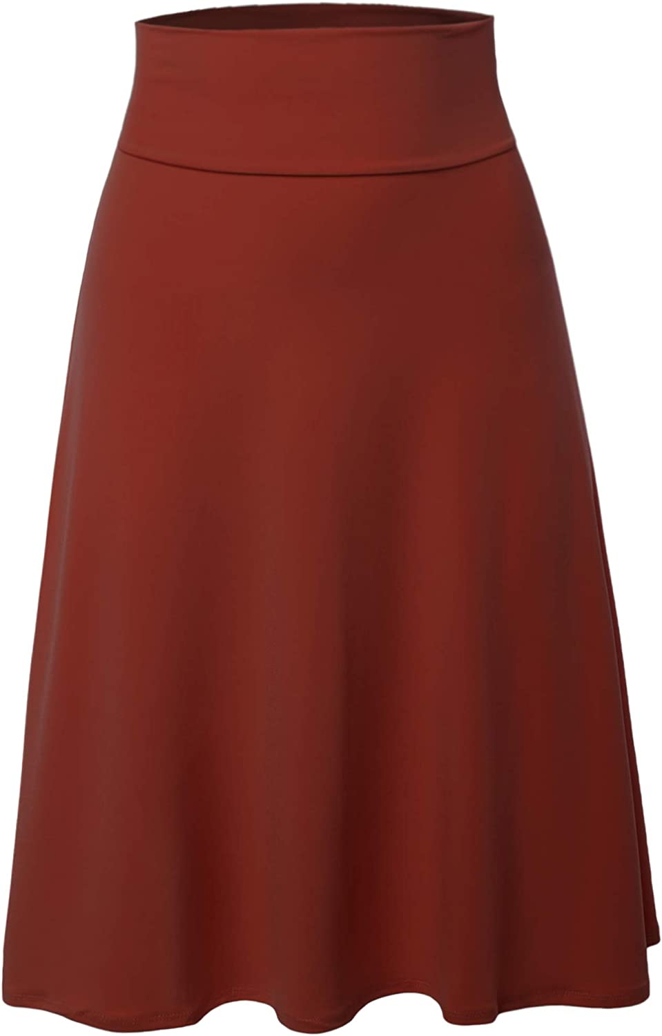 Women's Solid A-Line Fold Over Waist Band Flared Midi Skirt
