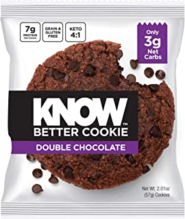 KNOW Foods - KNOW Better Cookie, Double Chocolate, Keto Snack, Low Carb Snack, Protein Cookie, Gluten Free, 2.01oz Cookie, 8 Count