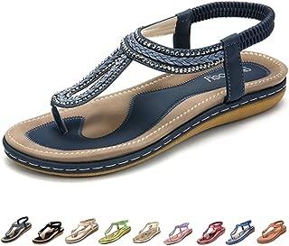 gracosy Women's Flat Sandals, Summer Beach Flip Flops Thong T-Strap Flat Rhinestone Beads Slipper Bohemia Elastic Slip On