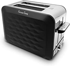 Fortune Candy Toaster 2 Slice Stainless Steel,Toaster for Bagels,Wide Slots Toaster with Removable Crumb Tray (Black)