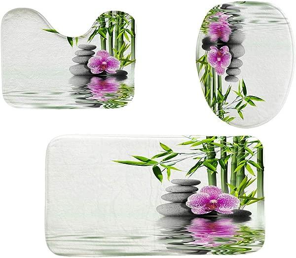 XIANAER 3pc 浴室防滑垫 u型轮廓垫和马桶盖淋浴地毯迷彩树生态家居酒店装饰
