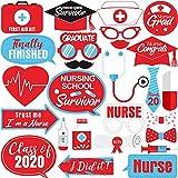26 Pieces Doctor Nurse Graduation Photo Booth Props Kit for 2020 Nurse Graduation Party Decorations and Supplies