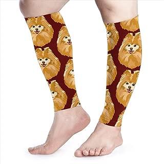 dfegyfr Calf Compression Sleeve Happy Pomeranian Leg Compression Socks for Shin Splint Calf Brace Support Women Men 1 Pair
