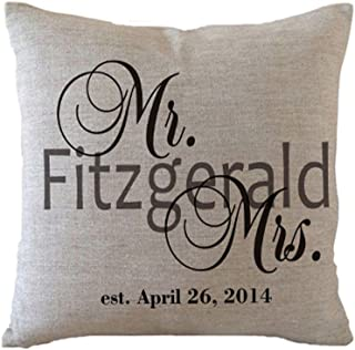 designyours Personalized Mr and Mrs Pillow Covers Custom Wedding Pillows with Last Name and Date Wedding Gifts