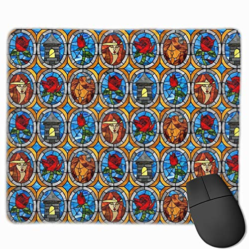 Mouse Pad Beauty and Beast Fairytale Glass Mousepad Non-Slip Rubber Gaming Mat Rectangle Mouse Pad