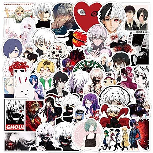 ZIWEI Anime Tokyo Ghoul Pegatinas de dibujos animados Calcomanías de equipaje Teléfono Guitarra Portátil Impermeable Clásico Divertido Niño Graffiti Sticker 50pcs