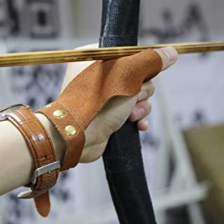 TOPARCHERY Arrow Gloves 2 Finger Protective Guard Leather for Right Left Hand Hunting Shooting Target Recurve Horse Bow