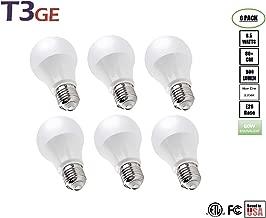 T3 Green Energy A19 Light Bulbs 8.5W(60W Equivalent) Soft White Glow Standard LED Light Bulb Eye Protection(6 Pack)