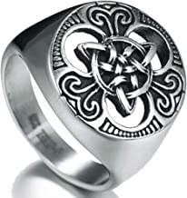 Kingray Jewelry Retro Vintage Stainless Steel Vikings Celtic Knot Biker Signet Cocktail Party Ring
