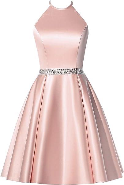 Bbcbridal Satin Neckholder Kleid Mit Kurzen Perlen Cocktailkleid Fur Junioren Mit Taschen Pink 54 Mehr Amazon De Bekleidung