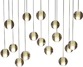 16-Light LED Rectangular Floating Bubble Glass Ball Chandelier