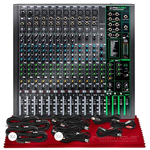 Mackie ProFX16v3 16-Channel Sound Reinforcement Mixer with Built-In FX + Basic XLR/USB/TRS/TS/RCA Cable Bundle & Fibertique Microfiber Cleaning Cloth
