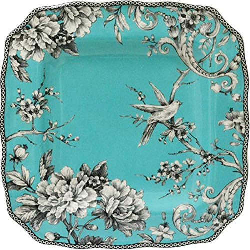222 Fifth Adelaide Turquoise Square Porcelain Dinner Plate   Set of 4