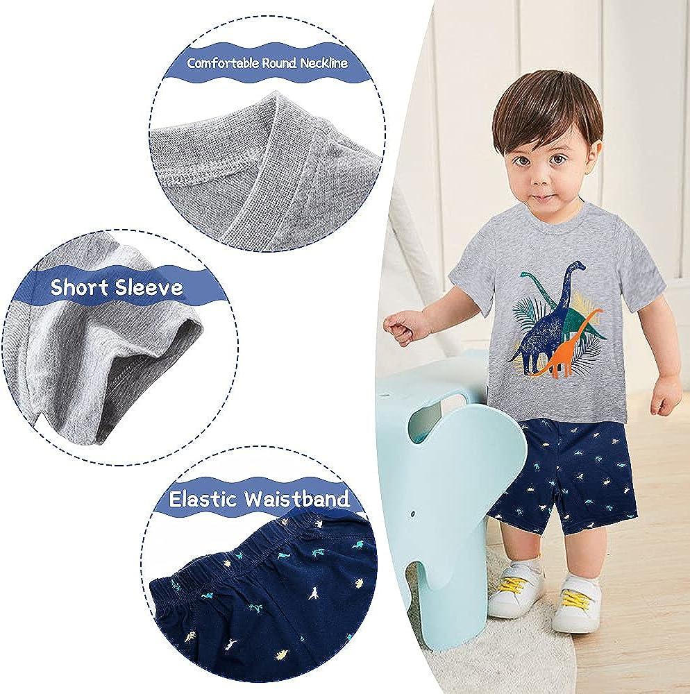 Toddler Baby Boys Shorts Sets Dinosaur T-Shirt Plaid Tops Pant Set Infant Hawaiian Clothes Set 2Pcs Summer Outfit