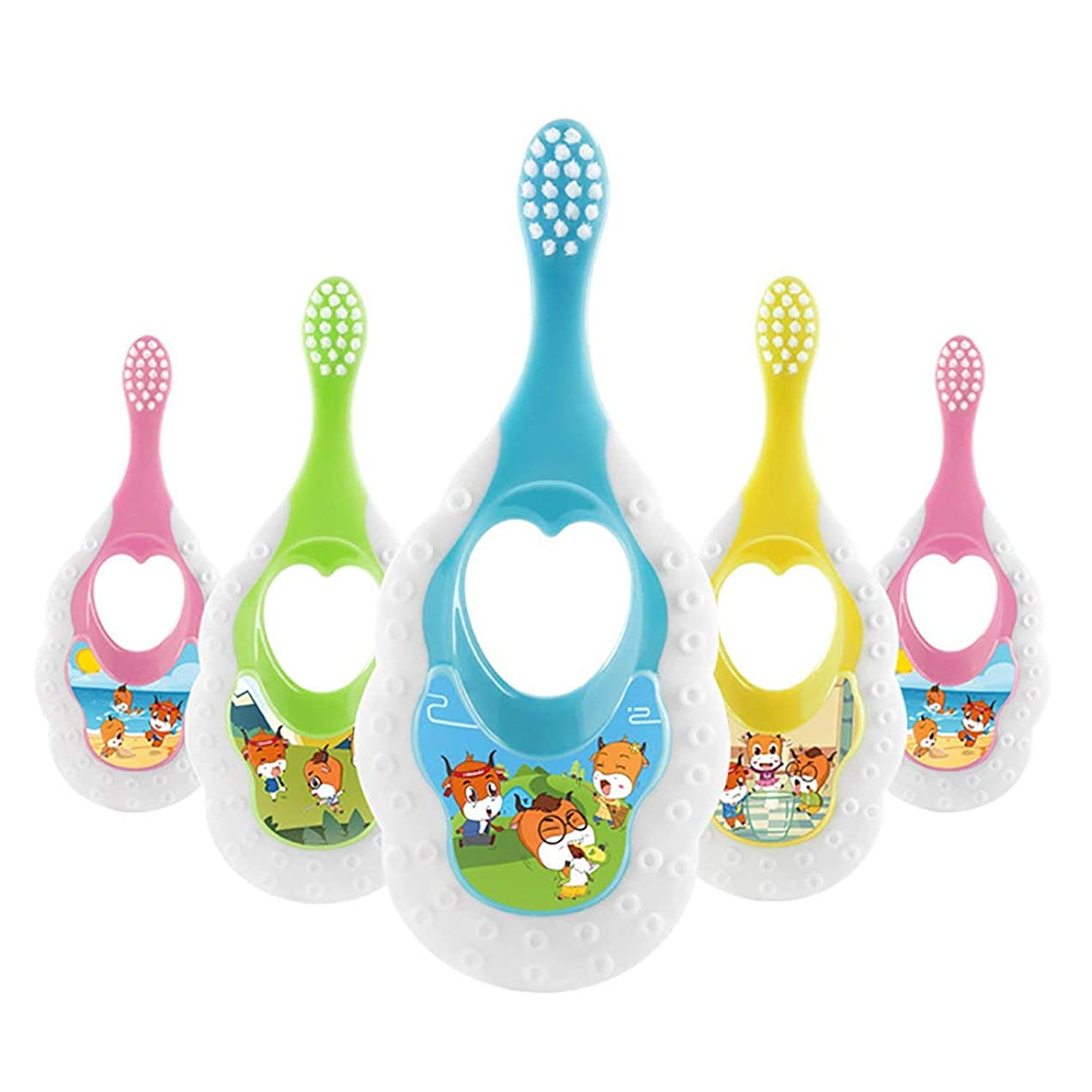 考える復活する儀式Intercoreyかわいいデザイン子供柔らかい髪歯ブラシ漫画パターン歯ブラシヘッド歯ブラシ用子供1-3歳