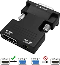 HUACAM 1080P Female HDMI to VGA Male Converter Adapter Dongle - 3.5mm Stereo Audio - for TVs, Speakers, Computers, Laptops, Gaming Consoles, Notebooks, Blu-ray DVD Players & More