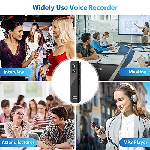 Aerb Digital Voice Recorder, 16GB(1536Kbps) Voice Activated Recorder, Noise Reduction, A-B Repeat for Rechargeable Battery Recorder with MP3 Player for Lectures, Meetings, Interviews-Black