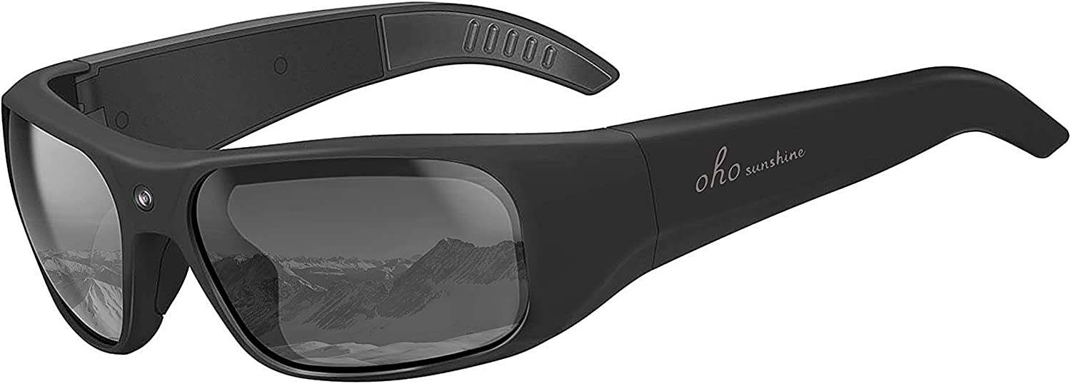 OhO Waterproof Video Audio Sunglasses,128GB Built-in Memory with Ultra 1080P Full HD Video Recording Camera and Polarized UV400 Protection Safety Lenses,Unisex Sport Design