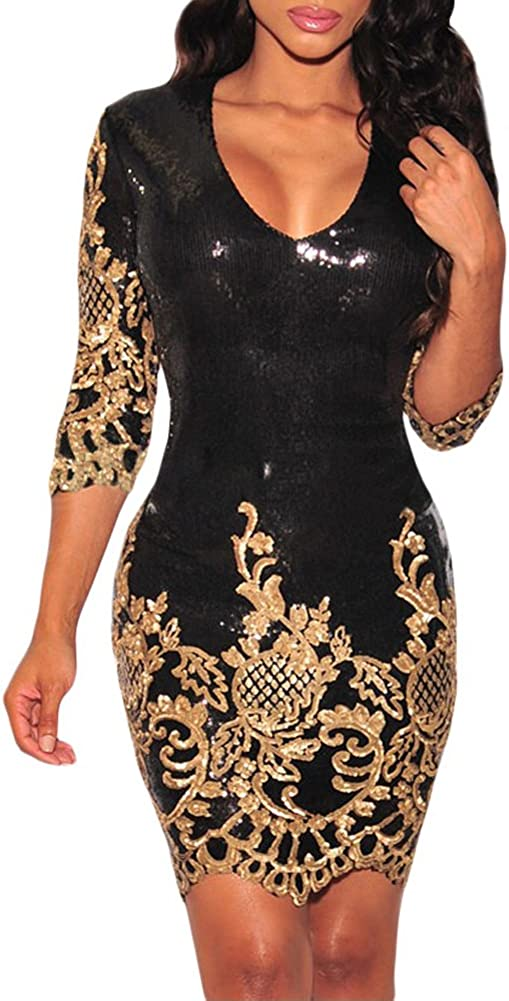 Eiffel Women's Victorian Trimmed Gold Sequins Bodycon Dress Party Club Night Out Dresses
