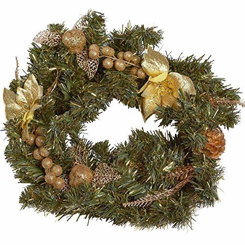 SSITG krans kerstkrans dennenkrans kerstdecoratie deur tafel kunstmatig goud 40cm
