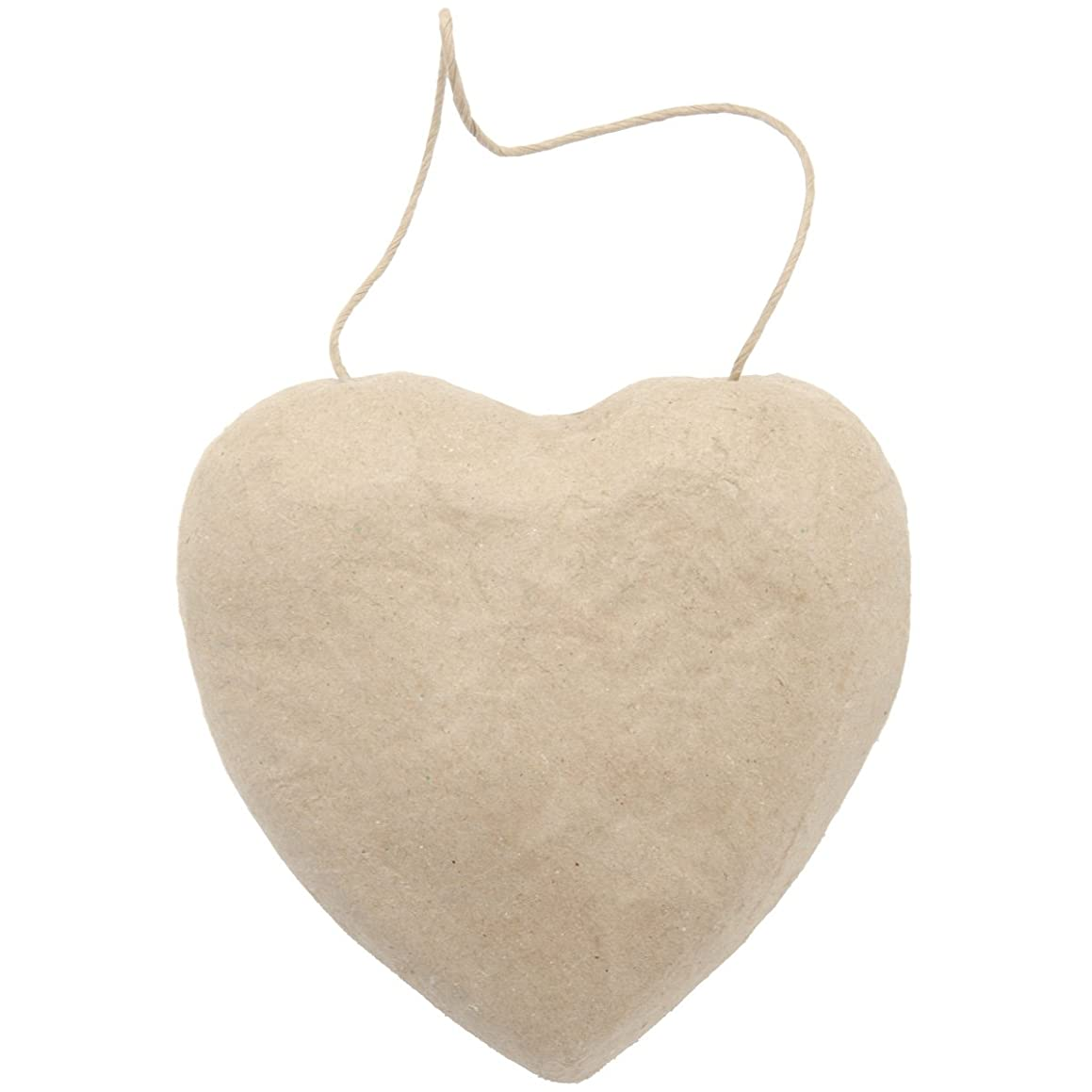 Darice 2833-44 Paper Mache Puffy Heart with String, 5.5-Inch