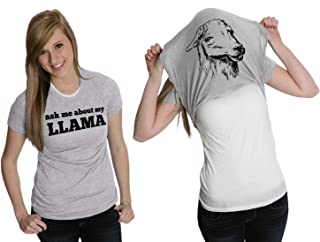 Crazy Dog T-Shirts Womens Ask Me About My Llama Tshirt Funny Alpaca Flip Up Tee for Ladies