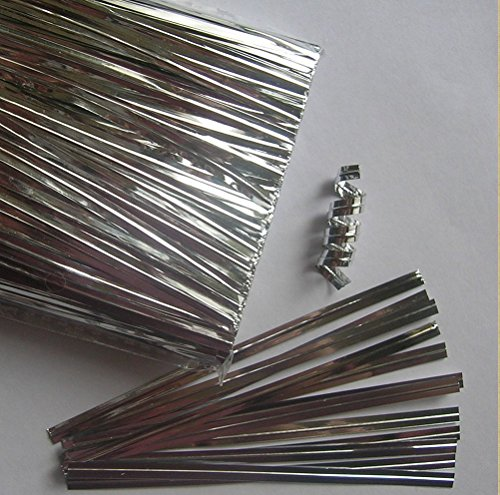 AIRSUNNY - 1000pcs 4' Silver Metallic Twist Ties foil Twist Ties for Cello Bags Treat Bags in Birthday Party Wedding Party