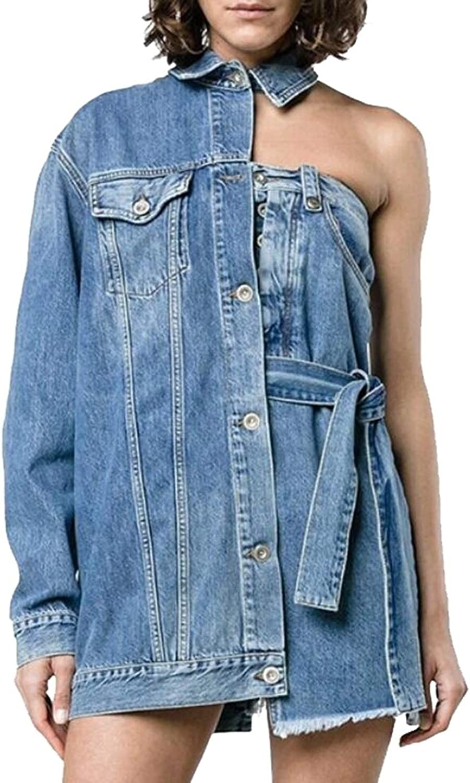 Emastor Women's Sexy Denim Jacket Asymmetry Boyfriend Jean Coat with Pockets
