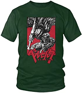 Camiseta Berserk Manga Japonesa para Hombre Novedad Manga Corta 100% algodón Cuello Redondo espadachín Gatsu Anime Camiset...