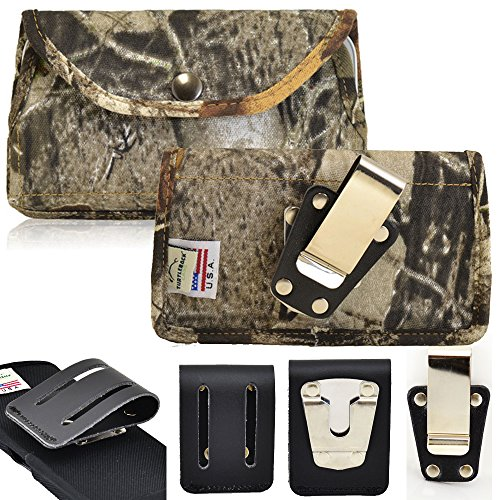 Rugged Horizontal Camouflage Nylon Heavy Duty Case with Metal Clips for LG K7. Comes with 3 inch Belt Loop Clip and Standard Steel Clip.