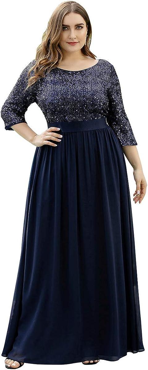 Ever-Pretty Women's V-Neck Sequin Maxi Dress Long Plus Size Evening Dress 0683-PZ