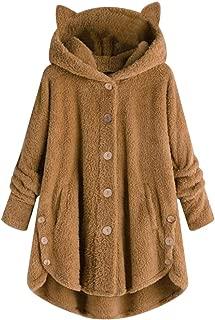 Winter Coats for Women,Women Winter Coat Hooded Button Loose Hoodies Plus Size Kitty Ear Warm Sweatshirt
